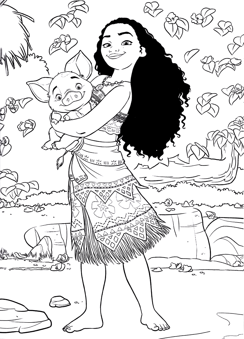 Moana Holding Piglet Moana Coloring Moana Coloring Pages Disney Coloring Pages