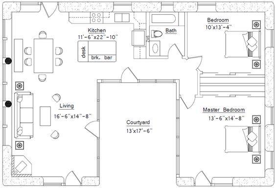 Specifications 990 Sq Ft Interior 2 Bedrooms 1 Bath Footprint 31 X 46 Description This Ple U Shaped House Plans Courtyard House Plans U Shaped Houses