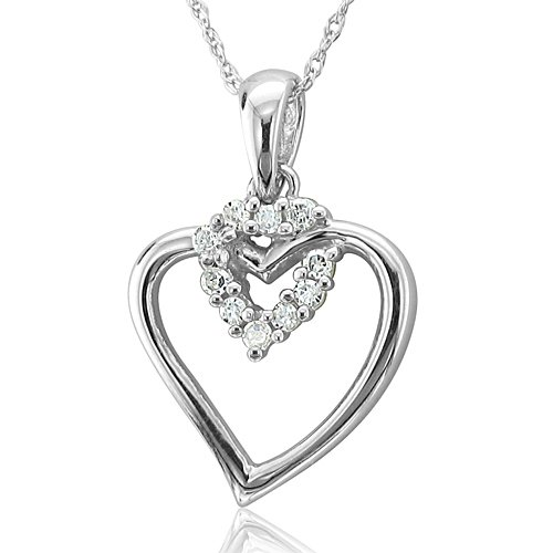 10k white gold heart diamond pendant necklace hi i 010 carat 10k white gold heart diamond pendant necklace hi i 010 carat diamond aloadofball Choice Image