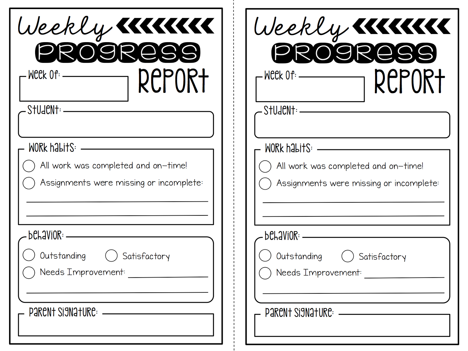 Summertime Revamp  Weekly Progress Reports Freebie  Create