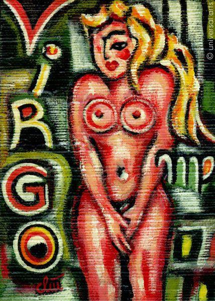 JACQUELINE DITT -  Virgo Jungfrau  Miniatur Gemälde Bild Sternzeichen Bilder art