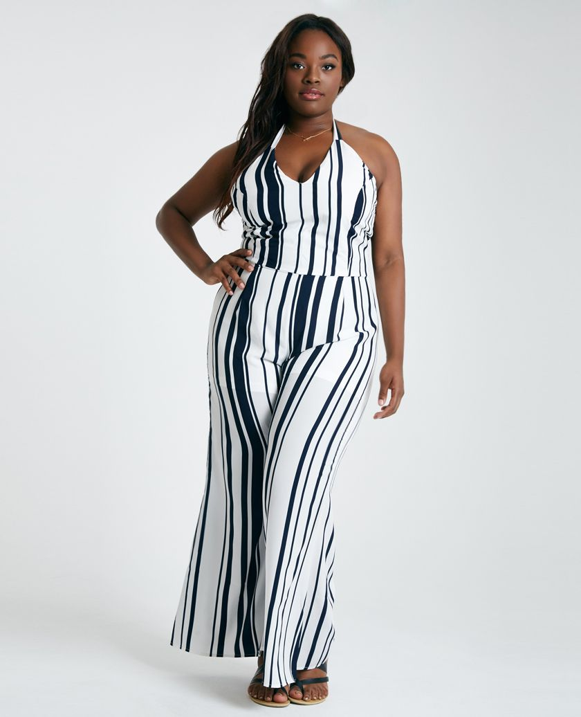 Plus Size Striped Halter Jumpsuit | Wet Seal | DRESSES