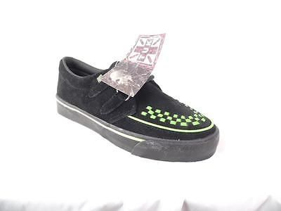 TUK BLACK GREEN LEATHER CREEPER SNEAKERS # A6292 UNISEX 9 / 11 EUR 42 NOS PUNK