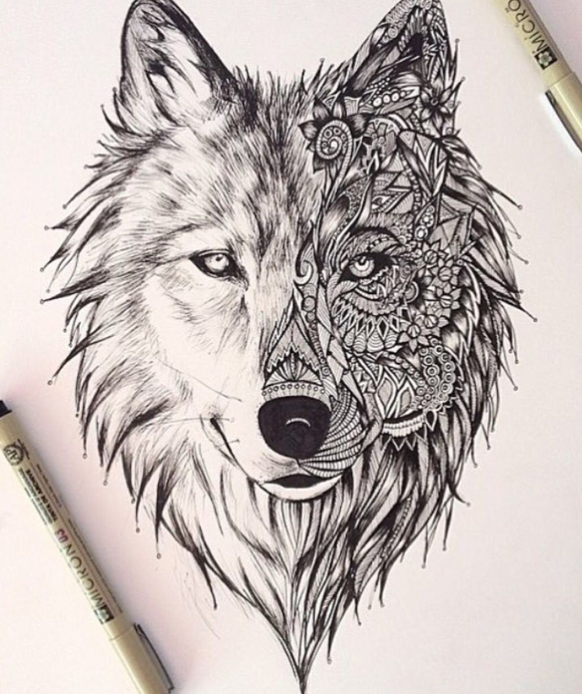 wolf mandala tattoos tatouage loup dessin tatouage. Black Bedroom Furniture Sets. Home Design Ideas