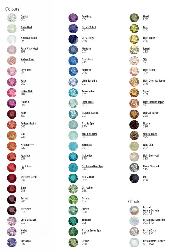 Swarovski Color Chart as a reference for when she mentions a color - sample general color chart