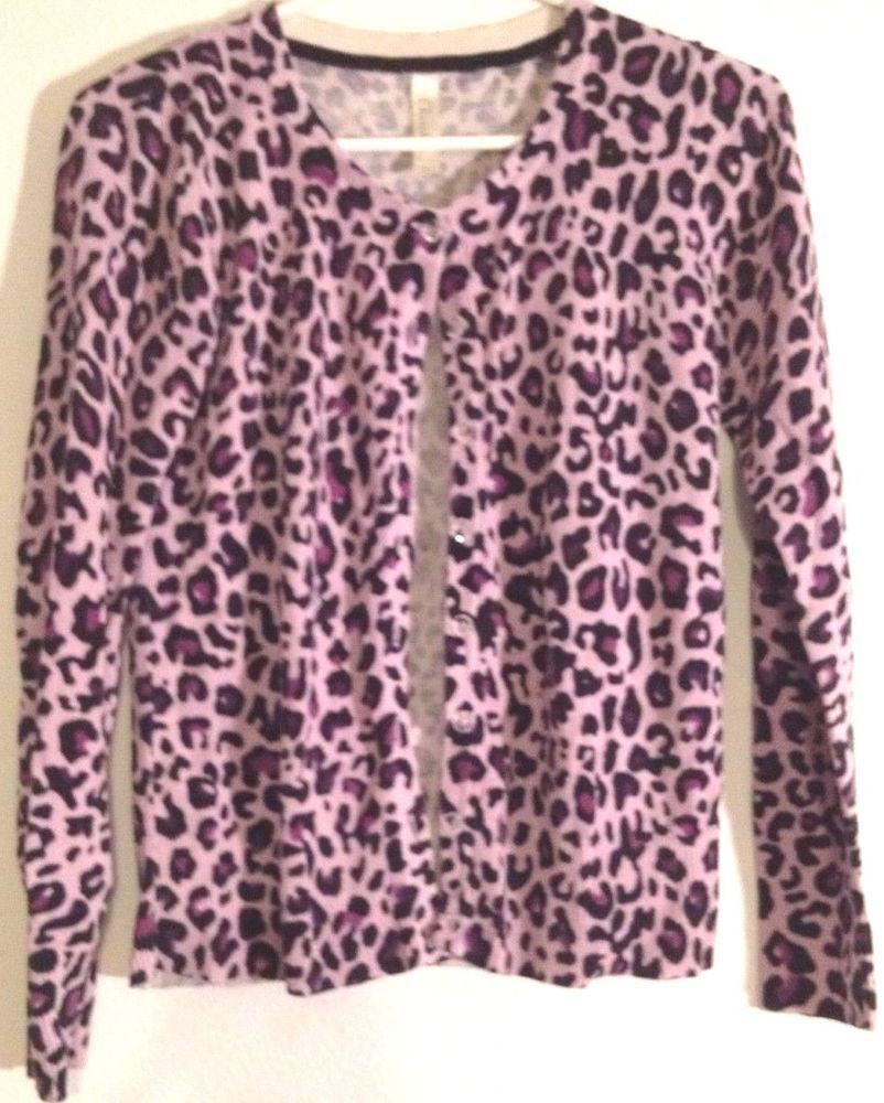 Women's Sweater Cardigan Vintage Style Leopard Print Lavender ...