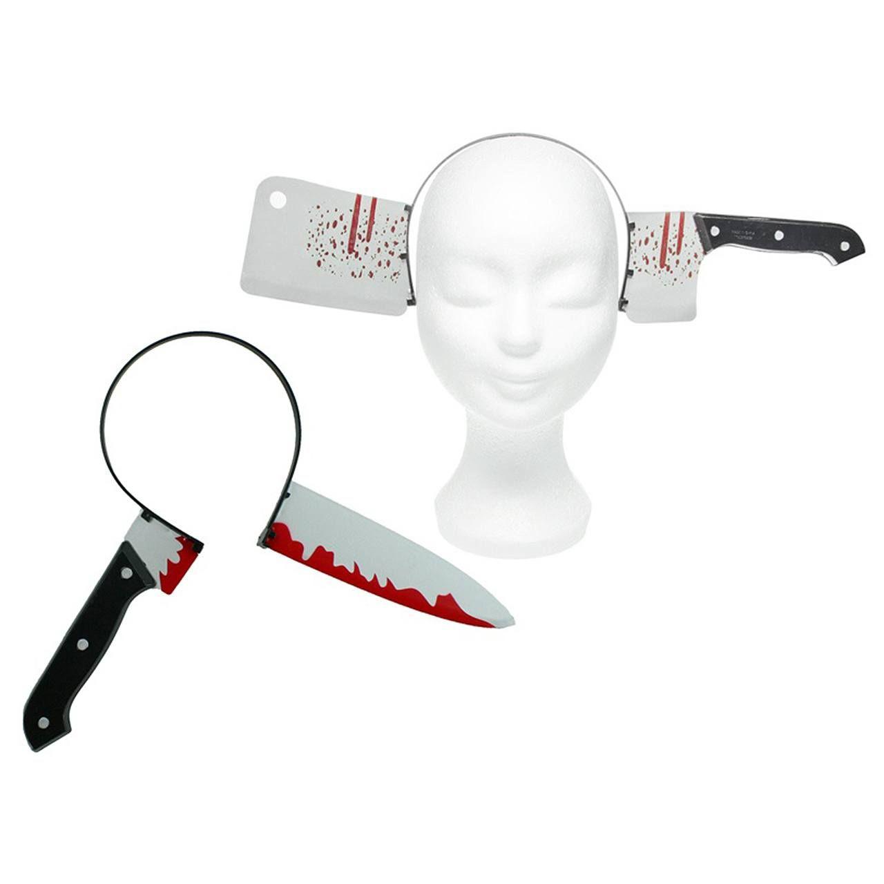Beil oder Messer durch den Kopf. Splatter Horror Karneval Halloween ...