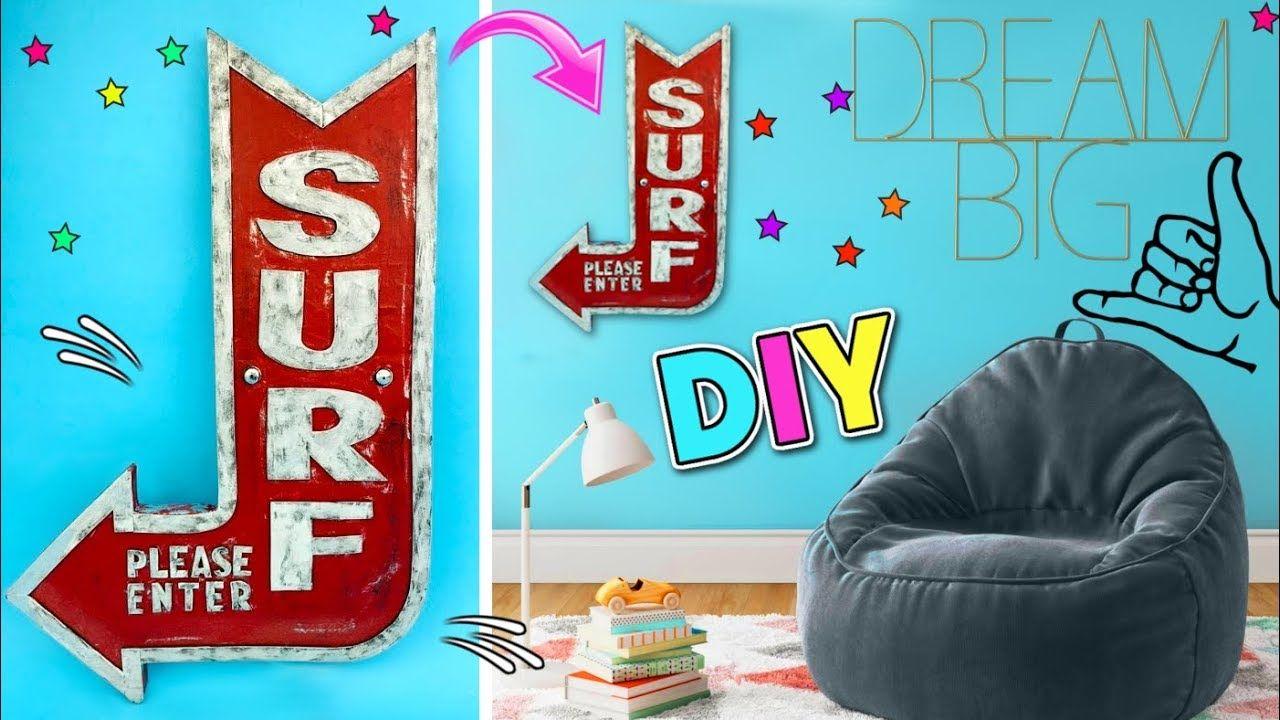 DIY ideas para decorar el cuarto de ADOLESCENTES | Letrero ... on Room Decor Manualidades Para Decorar Tu Cuarto id=74779