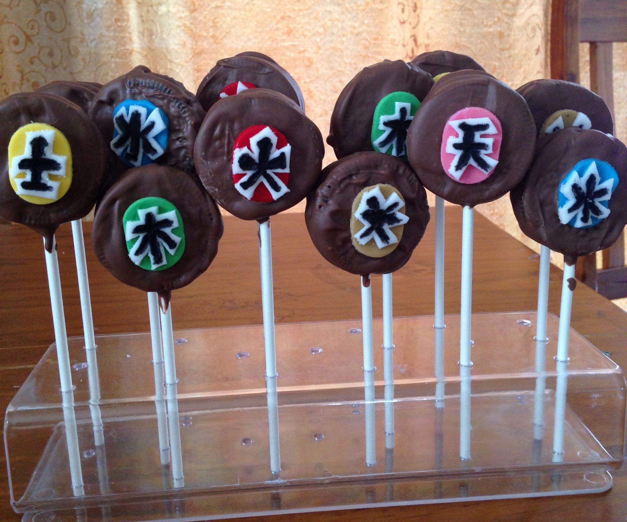 Oreo Pops With Power Ranger Samurai Symbols Birthday Ideas