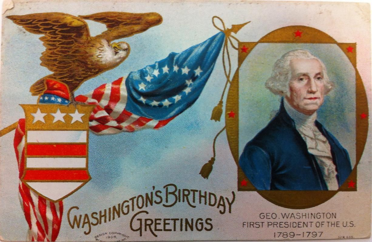 Embossed full color postcard of George Washington and patriotic ...