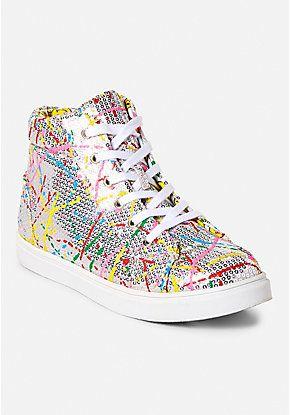 Paint Splatter Sequin High Top Sneaker Girls Shoes Girls Sneakers Shoes