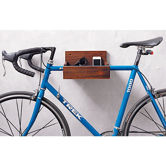 wood bike storage in wall mounted storage | CB2