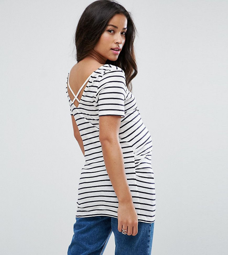 Maternity Blue Shirt Pin Anything T Cross Back Look Stripe New 0cqw5a7a