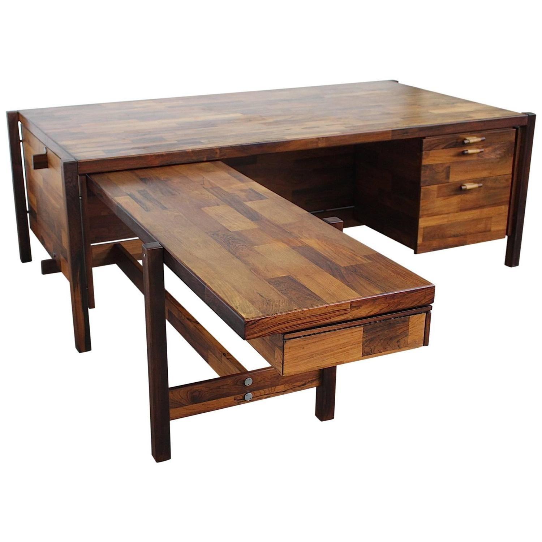 Executive Design Mobili Lissone.Jorge Zalszupin Brazilian Rosewood Executive Desk 1960s