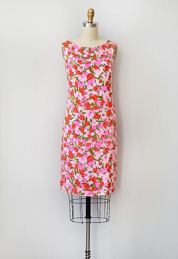 vintage 1960s pink bright floral dress  Ma Cherie Marie Dress ...