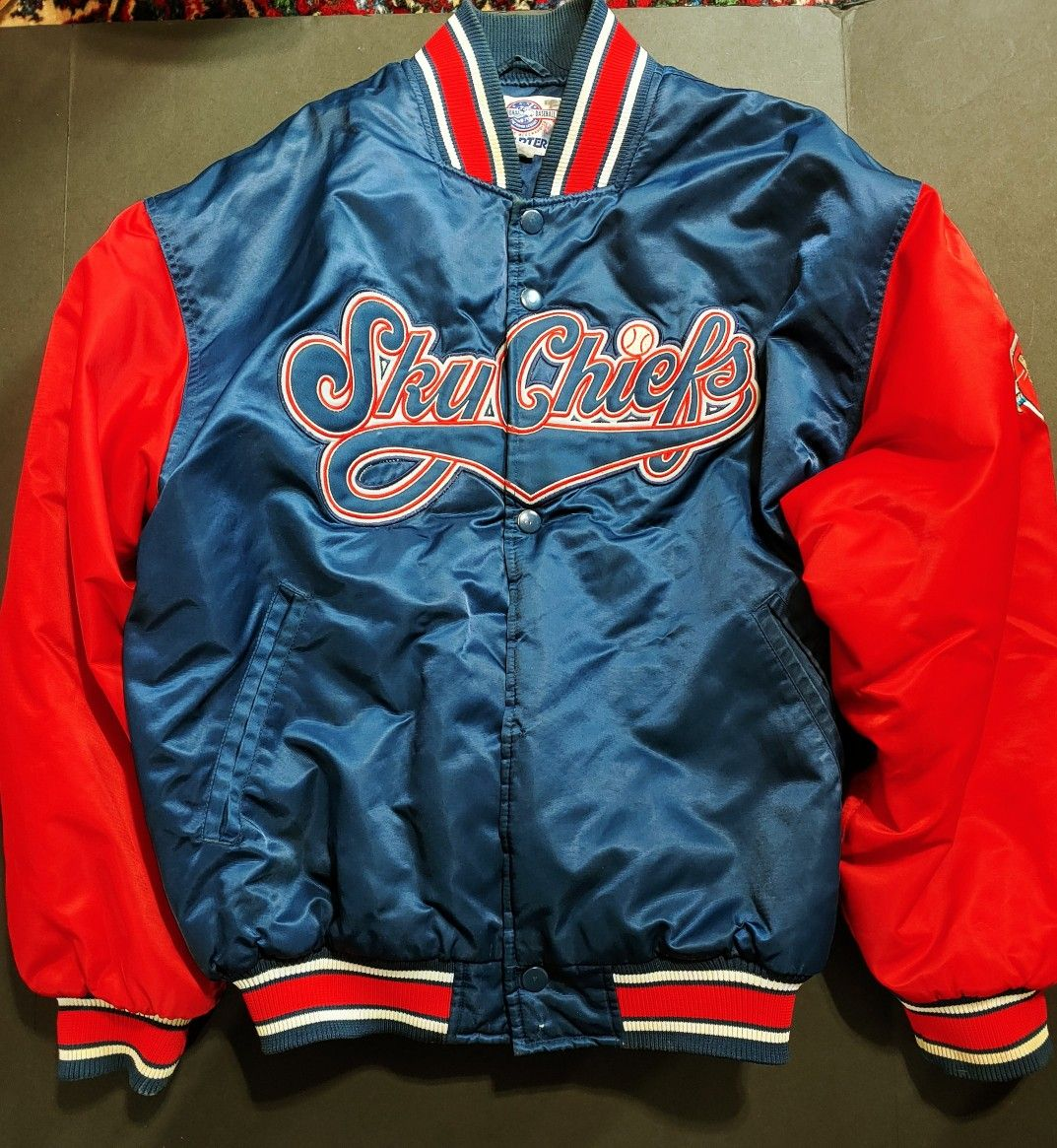 Vintage Syracuse Chiefs Sky Chiefs Game Used Baseball Dugout Jacket Xxl In 2021 Baseball Dugout Chiefs Game Jackets [ 1165 x 1073 Pixel ]