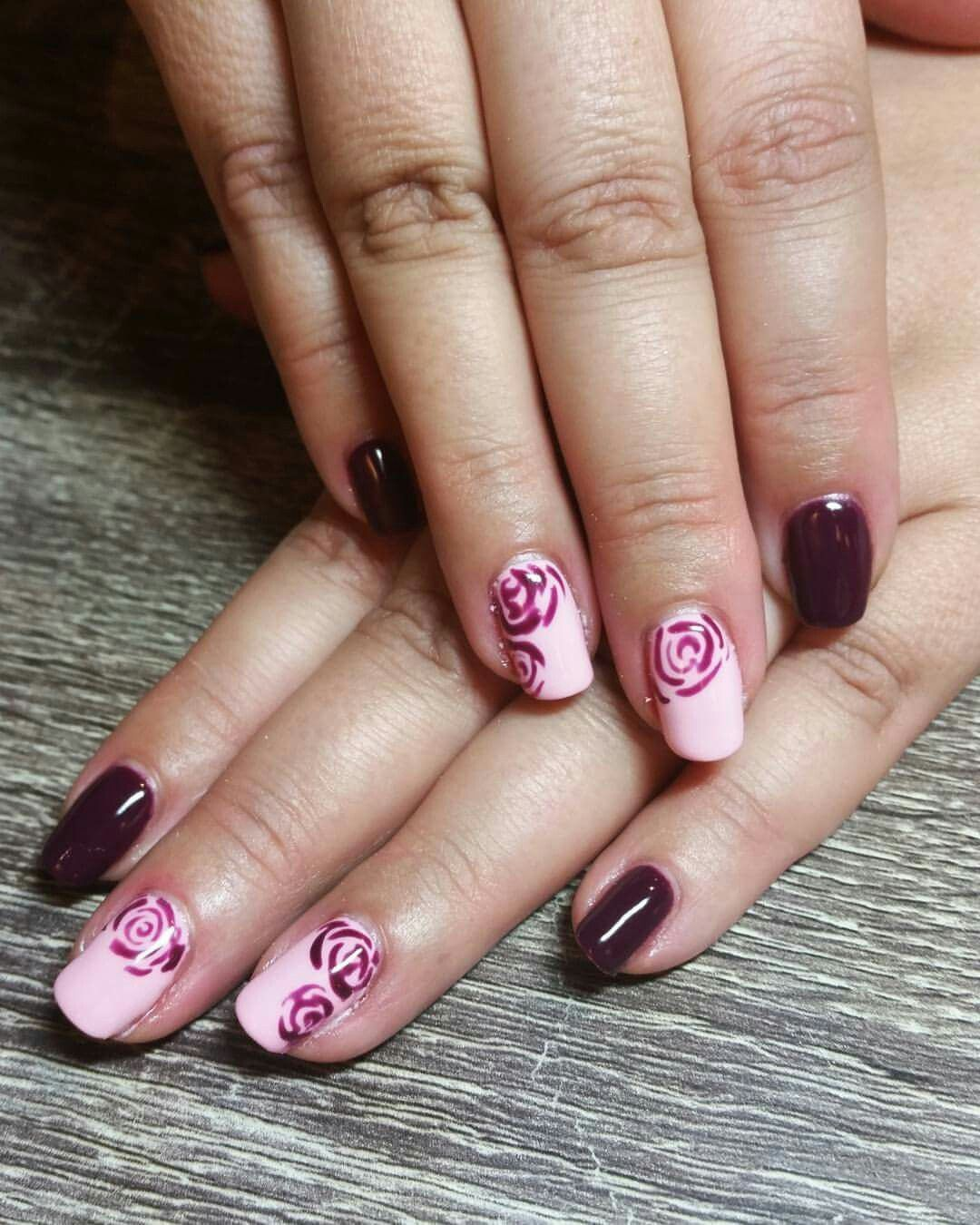 Pale pink and dark purple nails. Pale pink with roses. Rose nail art ...