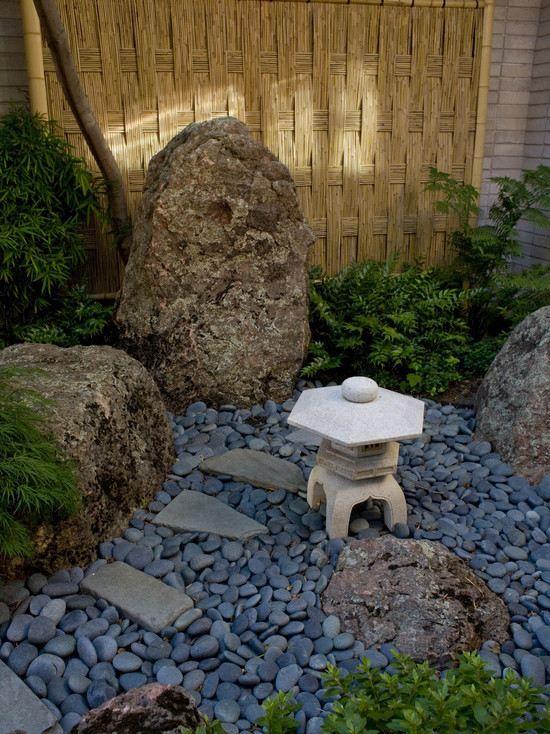garten zaun flechtwerk steingarten japanischer stil gartenweg, Garten seite