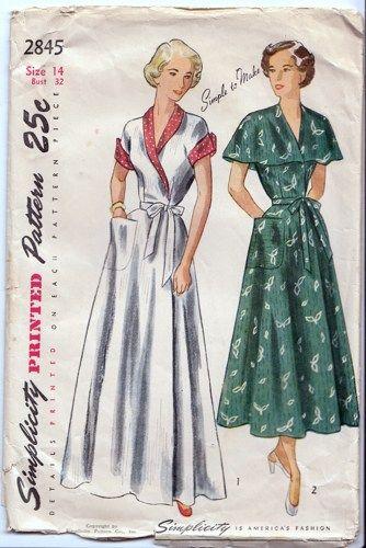 Vintage 1940s Wrap Around House Dress And House Coat Simplicity 2845 Vintage Clothes Patterns Vintage Dress Patterns Vintage Long Dress