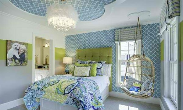 Schlafzimmer Farben ~ Schlafzimmer farben blau und grün decken und wandfarbe