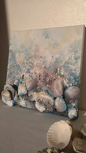 Photo of Abstract painting, beach art (10×12), Home decor, Canvas art, Original beach wall art, Mixed media art, Seashell decor, Beach, Wild seaside