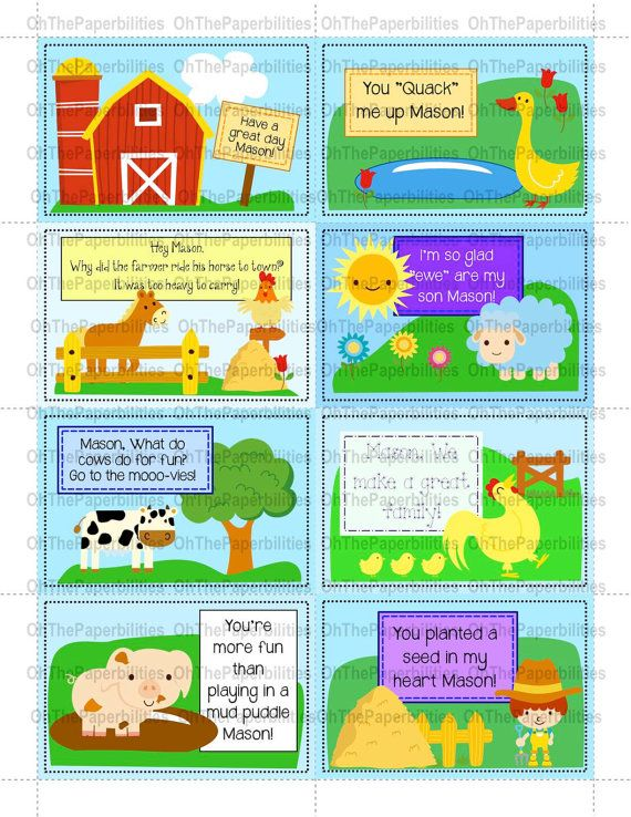 DIGITAL, PERSONALIZED lunchbox notes.  Farm  set.  Great encouragement for your children at school.  Lunch box