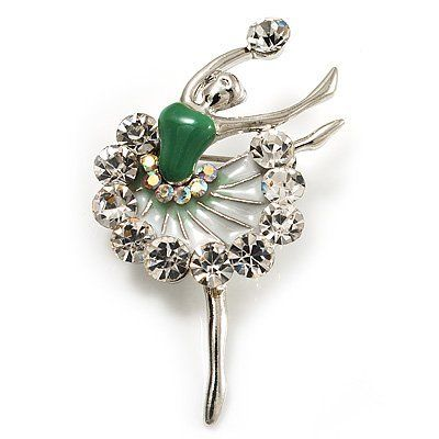 Silver Tone Crystal Dancing Ballerina Brooch (Light Green)