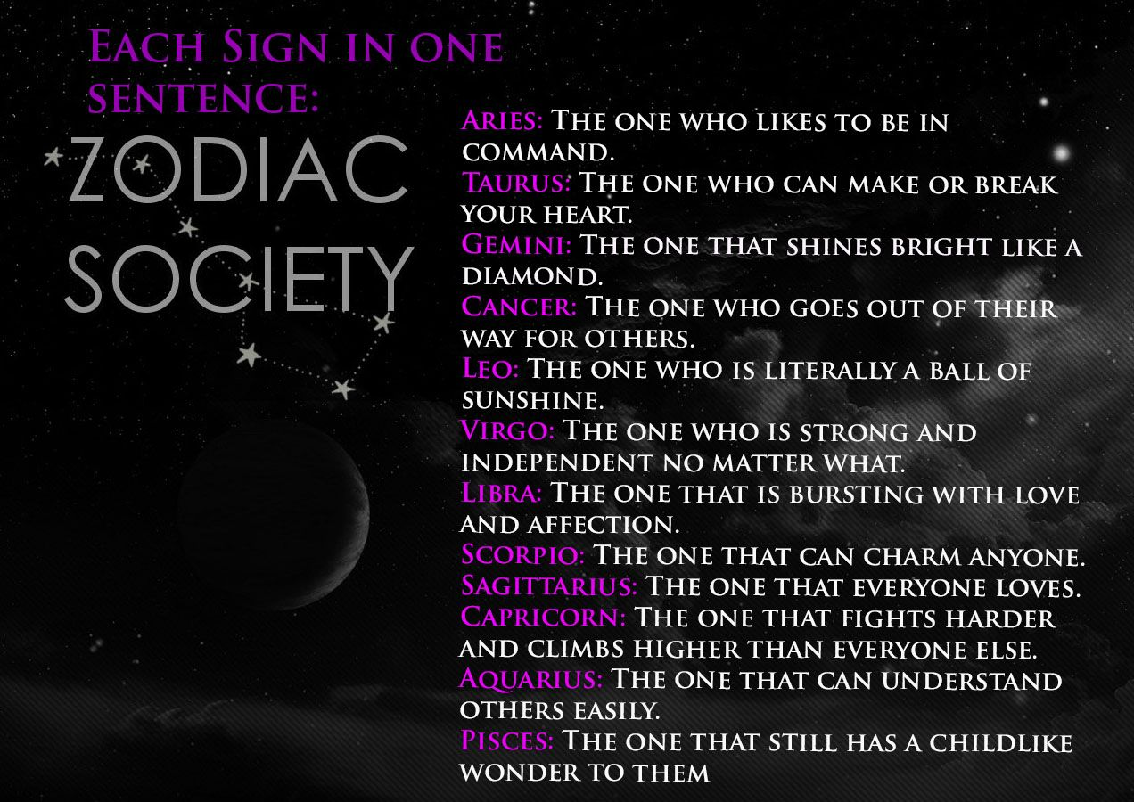 The Signs In One Sentence Written By Zodiac Society