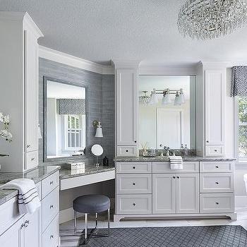 Built In Corner Makeup Vanity With Blue Stool Master Bedroom Bathroom Master Bathroom Vanity Open Concept Bathroom