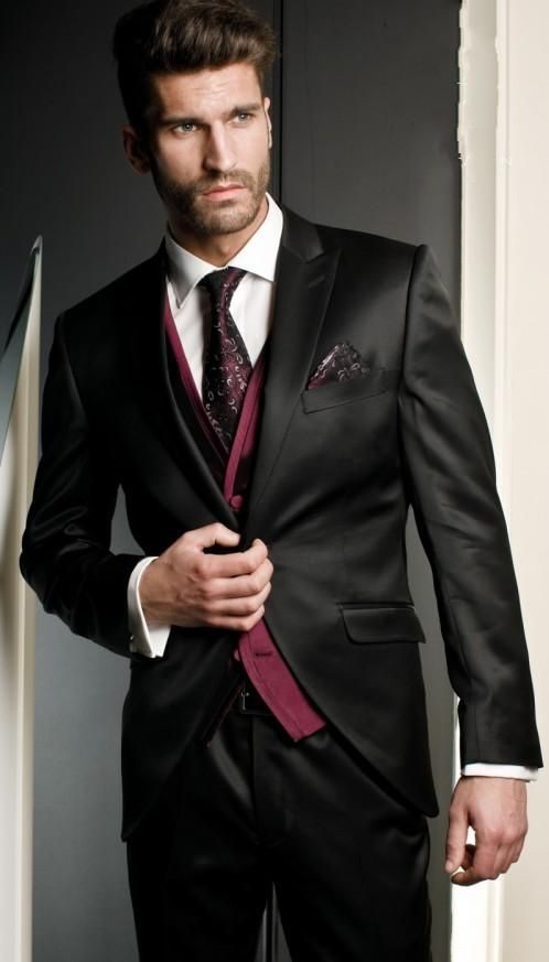 Black wedding suits for men peaked lapel grooms tuxedos three piece ...