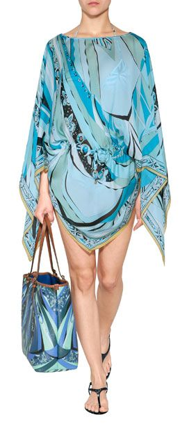Styled with a flattering drawstring waist, this printed silk poncho from Emilio Pucci is an ultra-chic choice for summer #Stylebop