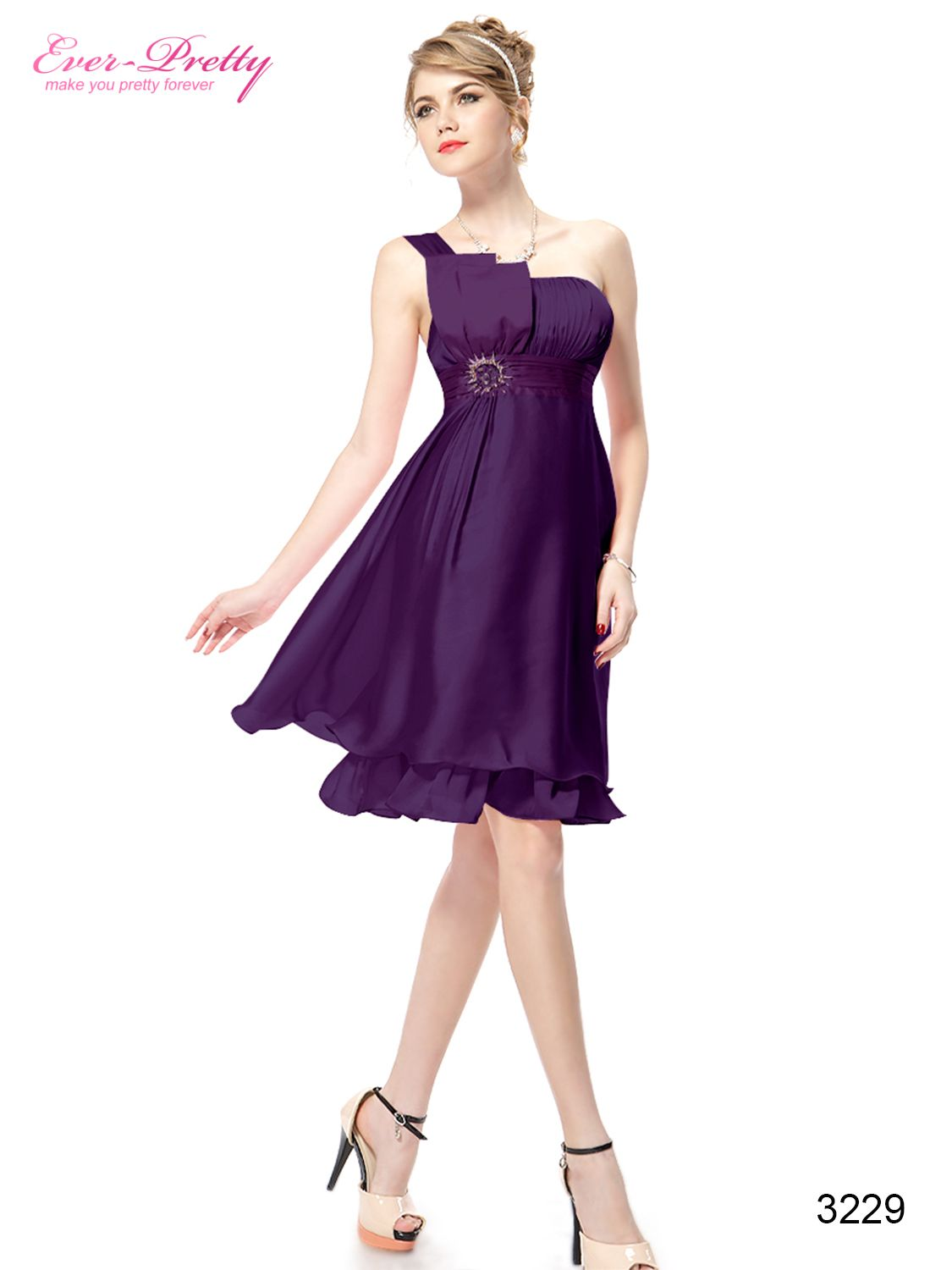 New Purple Rhinestones One Shoulder Ruffles Cocktail Dress - Ever ...