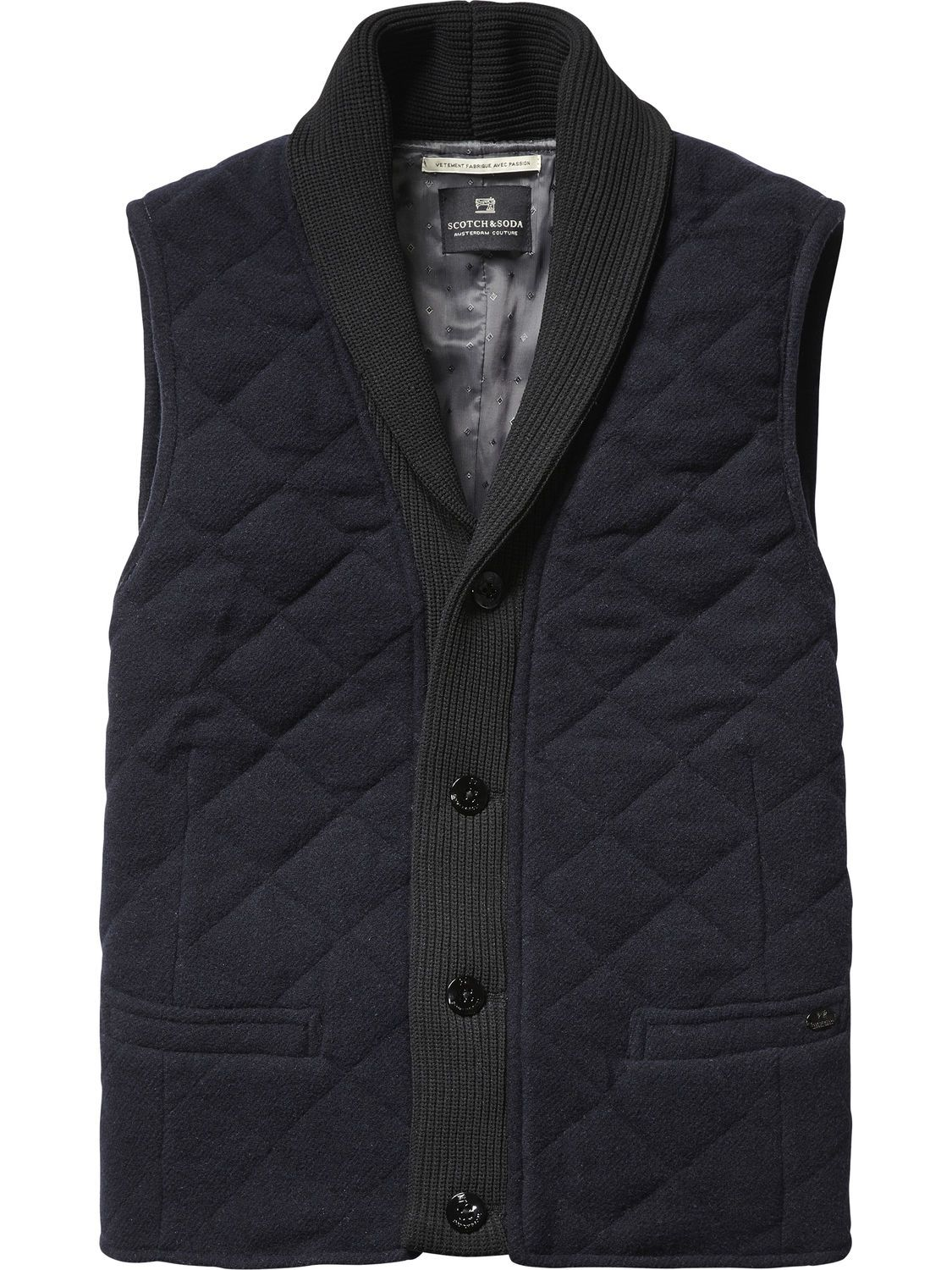 Quilted Wool Blend Gilet   Gilets   Men s Clothing at Scotch   Soda ... 8abeba948f0f