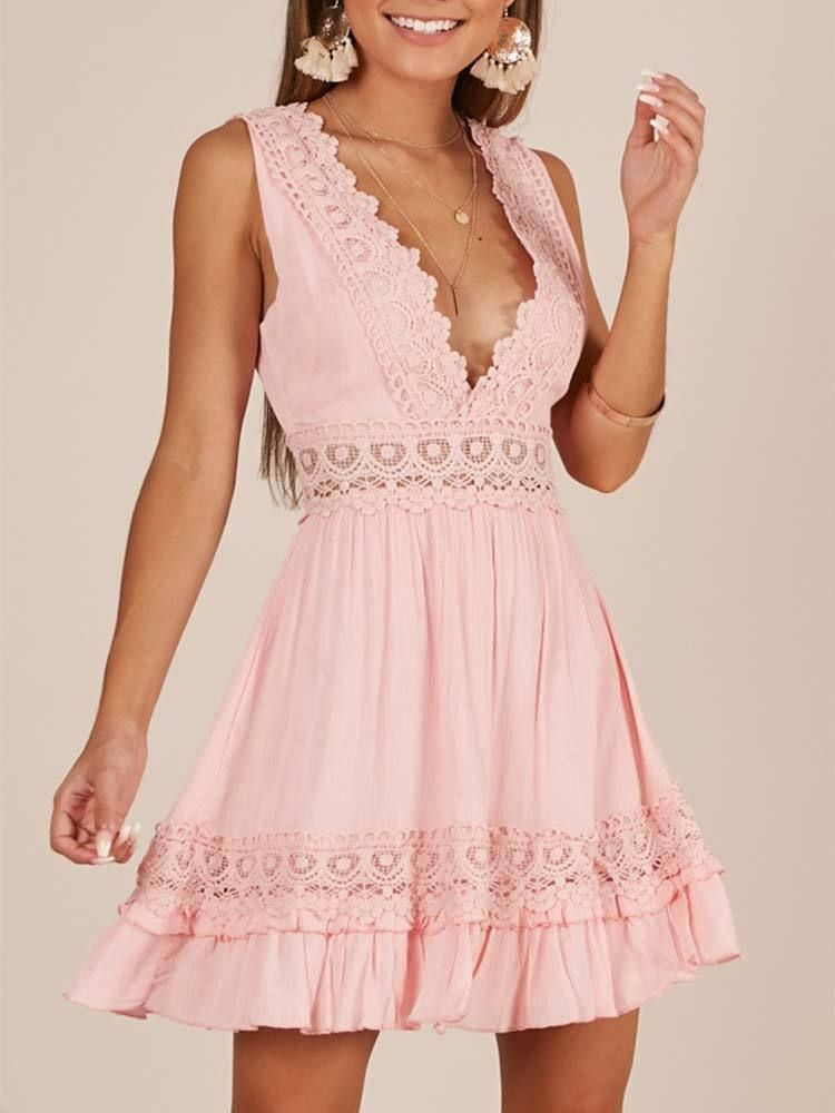 Pink Sexy Deep V Neck Backless Lace Edge Mini Dress Vestidos
