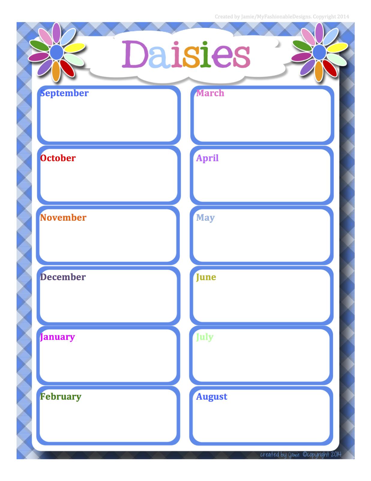 Girl Scouts Full Year Daisies Calendar
