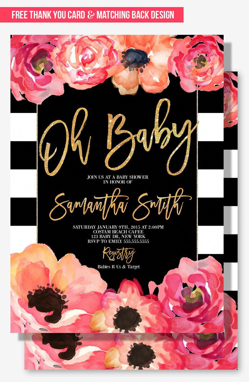 Glamorous Baby Shower Invitation For Your Modern Party Theme Blush Pink And Peach With Gold Glitter Details Black White Stripes
