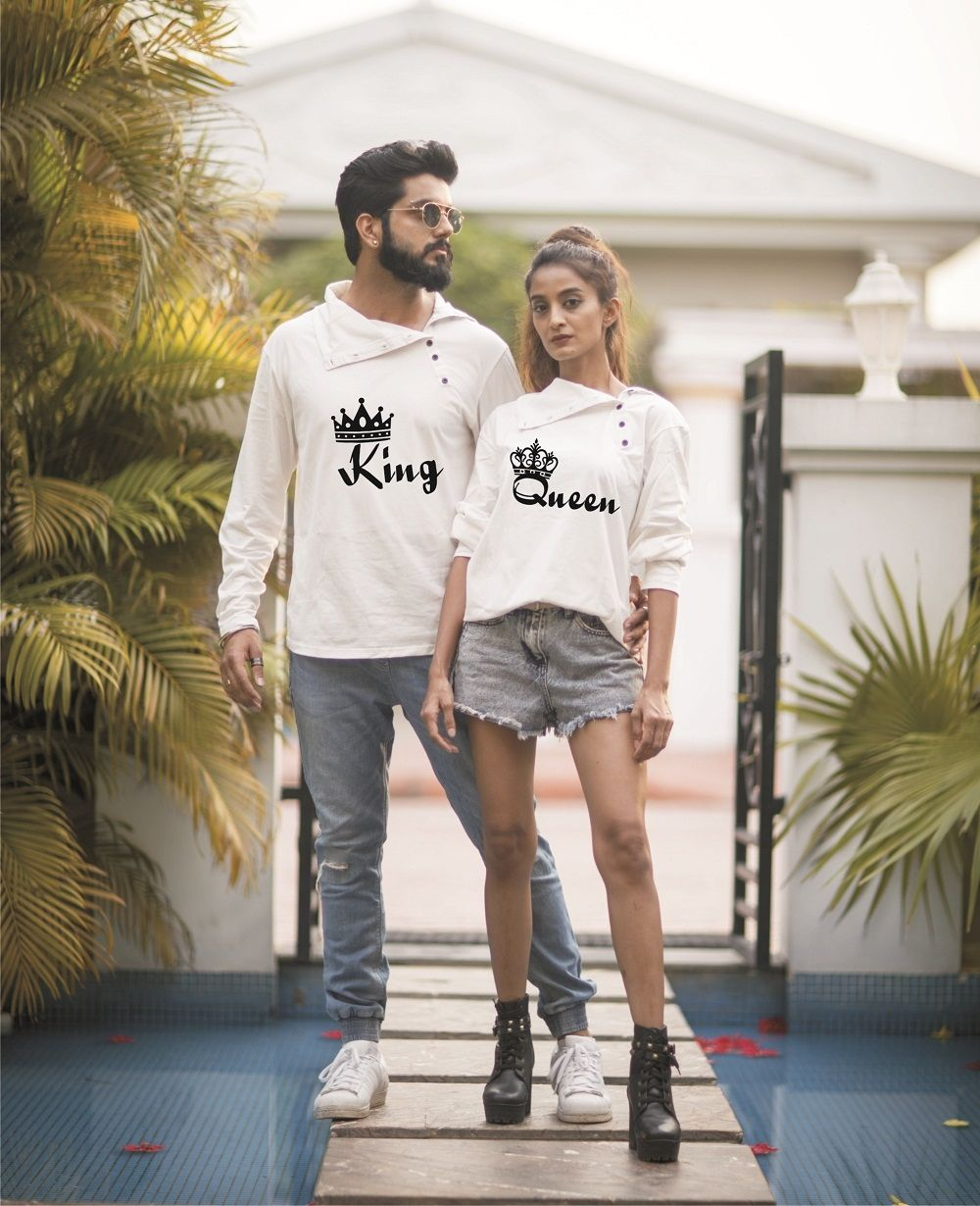 791a6f3171 Buy Kian Shopee's Personalized King Queen White Couple Tees Online at Low  prices in India on
