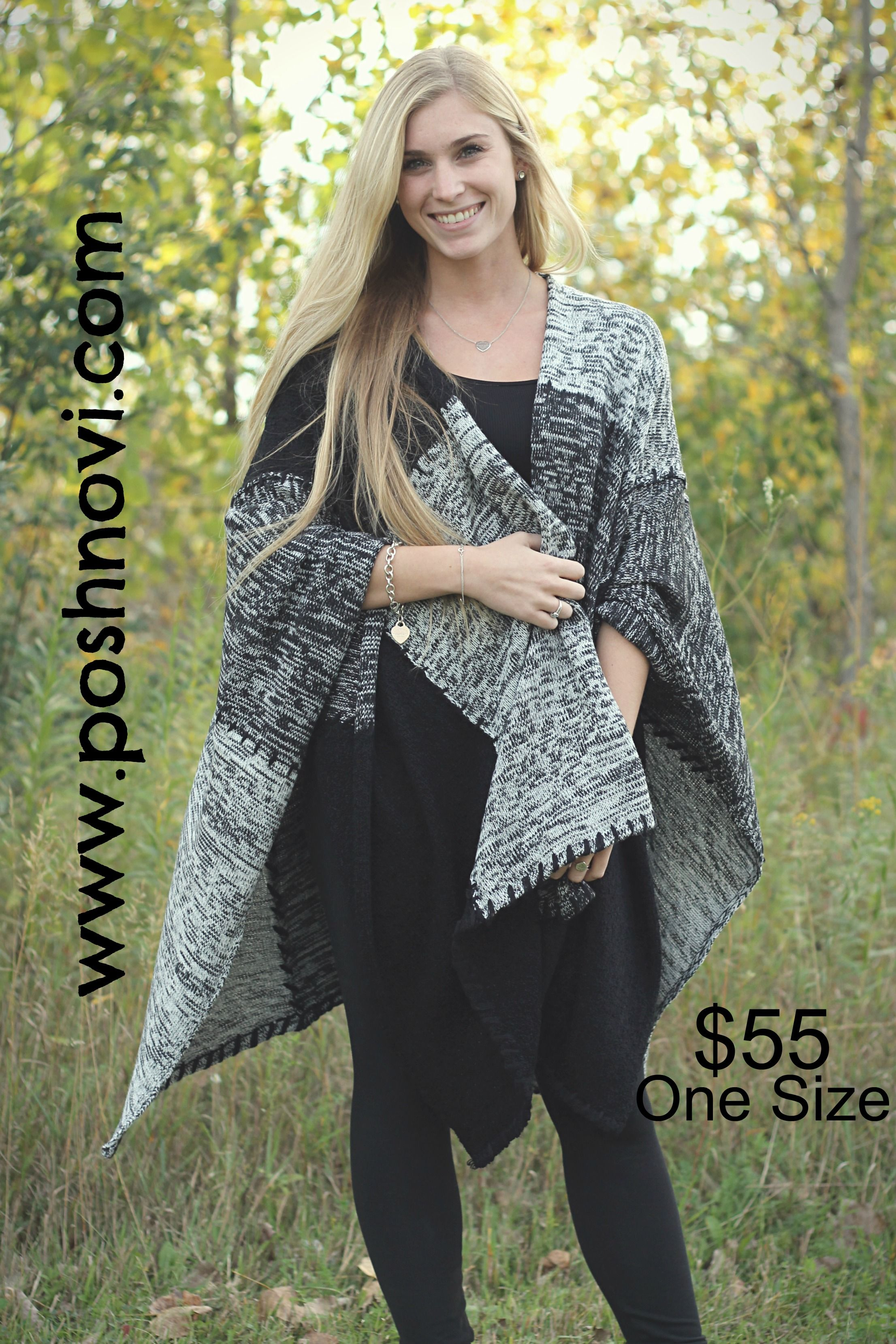 Super Stylish Shawl. We love it paired with long sleeves! Perfect warm sweater for the upcoming coooold season! $55 One Size.  http://www.poshnovi.com/collections/new-arrivals/products/black-white-patterned-shawl