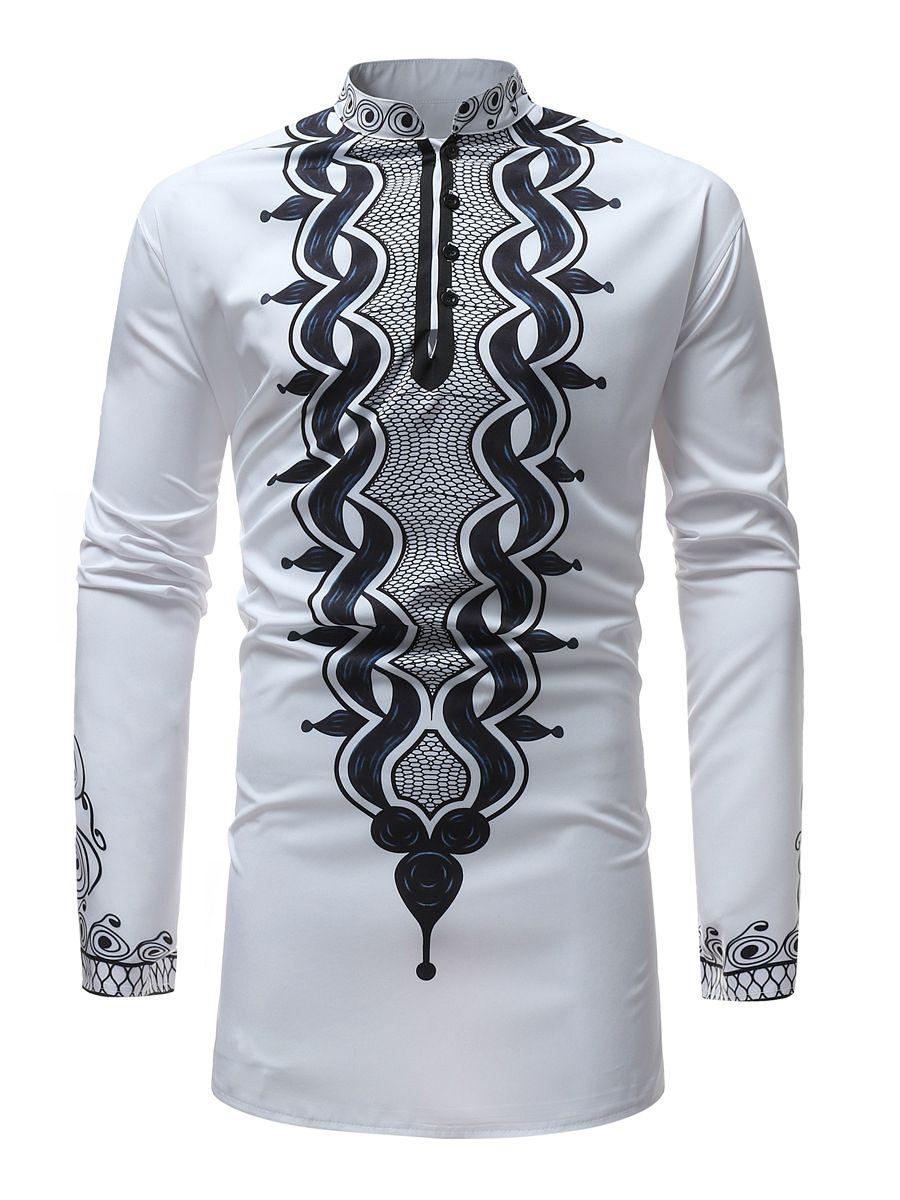 1afc286434 African Fashion Stand Collar Dashiki Style Slim Men's Shirt   Men's ...