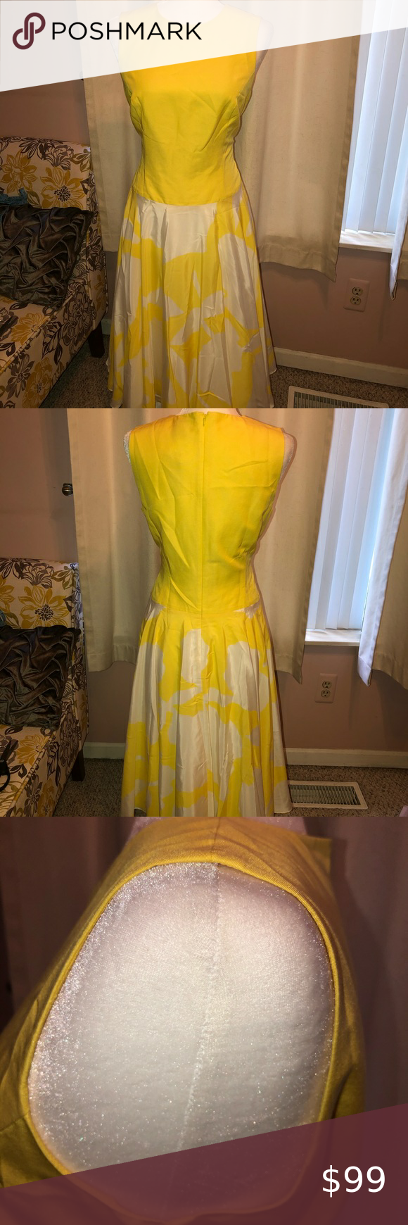 New W Tags J Peterman Yellow And White Dress Yellow And White Dress Dresses White Dress [ 1740 x 580 Pixel ]