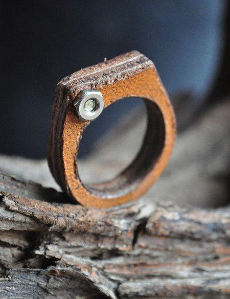 Mini Board - anel com camadas de couro