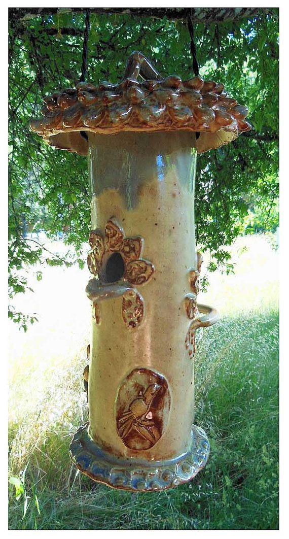Ceramic Bird Feeder by rikablue on Etsy, $38.00