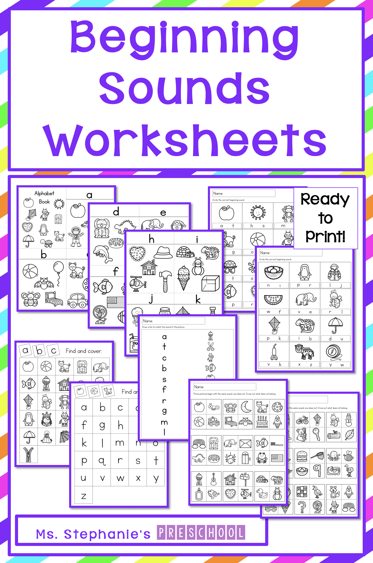Preschool Beginning Initial Sounds Worksheets
