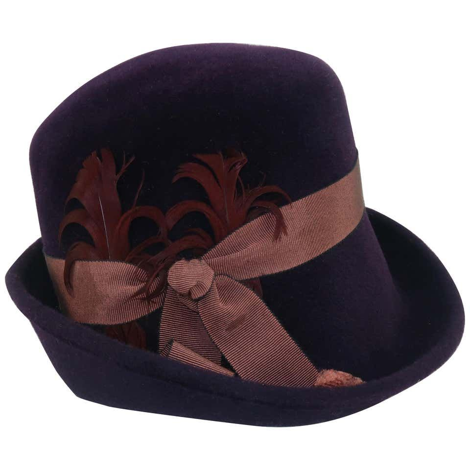 Lola Aubergine Trilby Hat With Feathers C 2000 Trilby Hat Trilby Hats