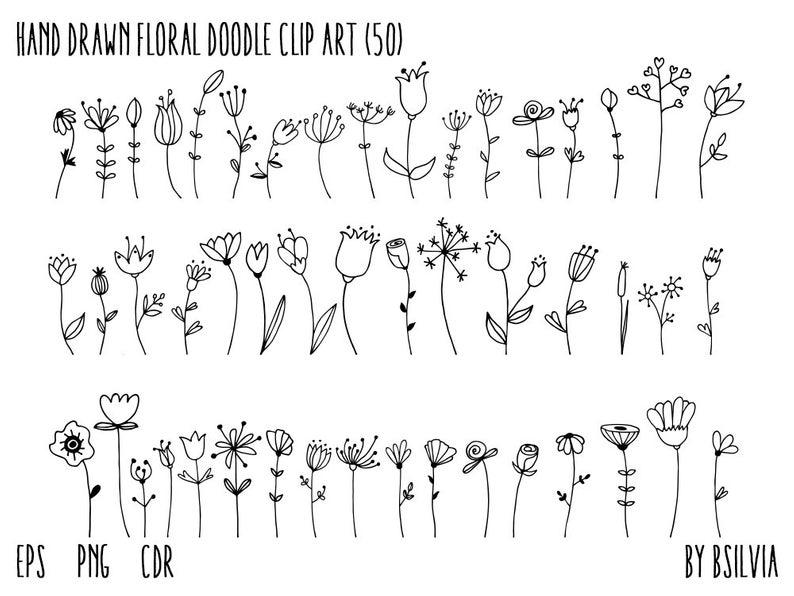 Hand Drawn Floral Doodle Clip Art, Flowers Clip Ar