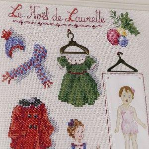 Aïda : «Laurette fête Noël» à broder au point de croix