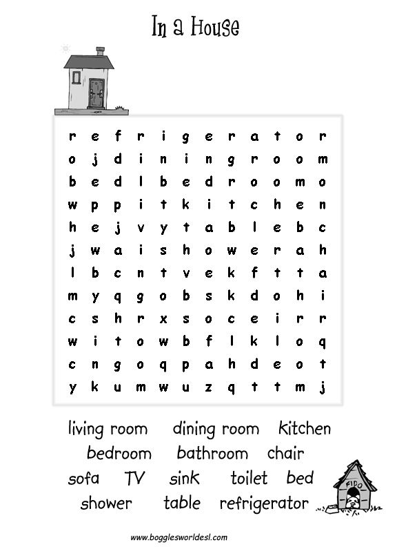rooms of the house word search google search in a house english exercises english house. Black Bedroom Furniture Sets. Home Design Ideas