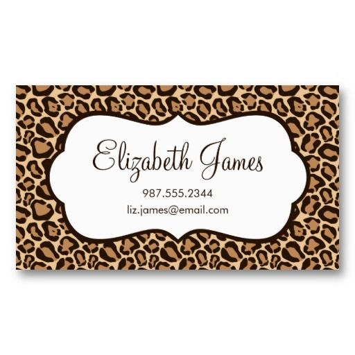 Girly leopard print business card girly and business girly leopard print business card reheart Images