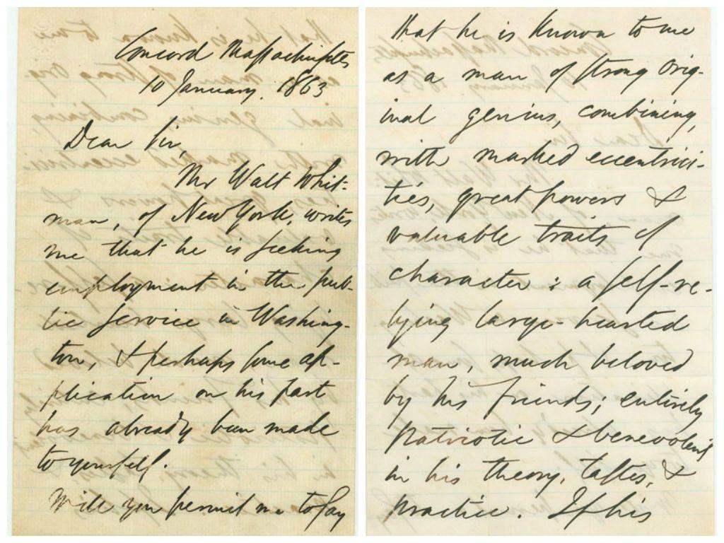 La carta de recomendación de Emerson a Walt Withman