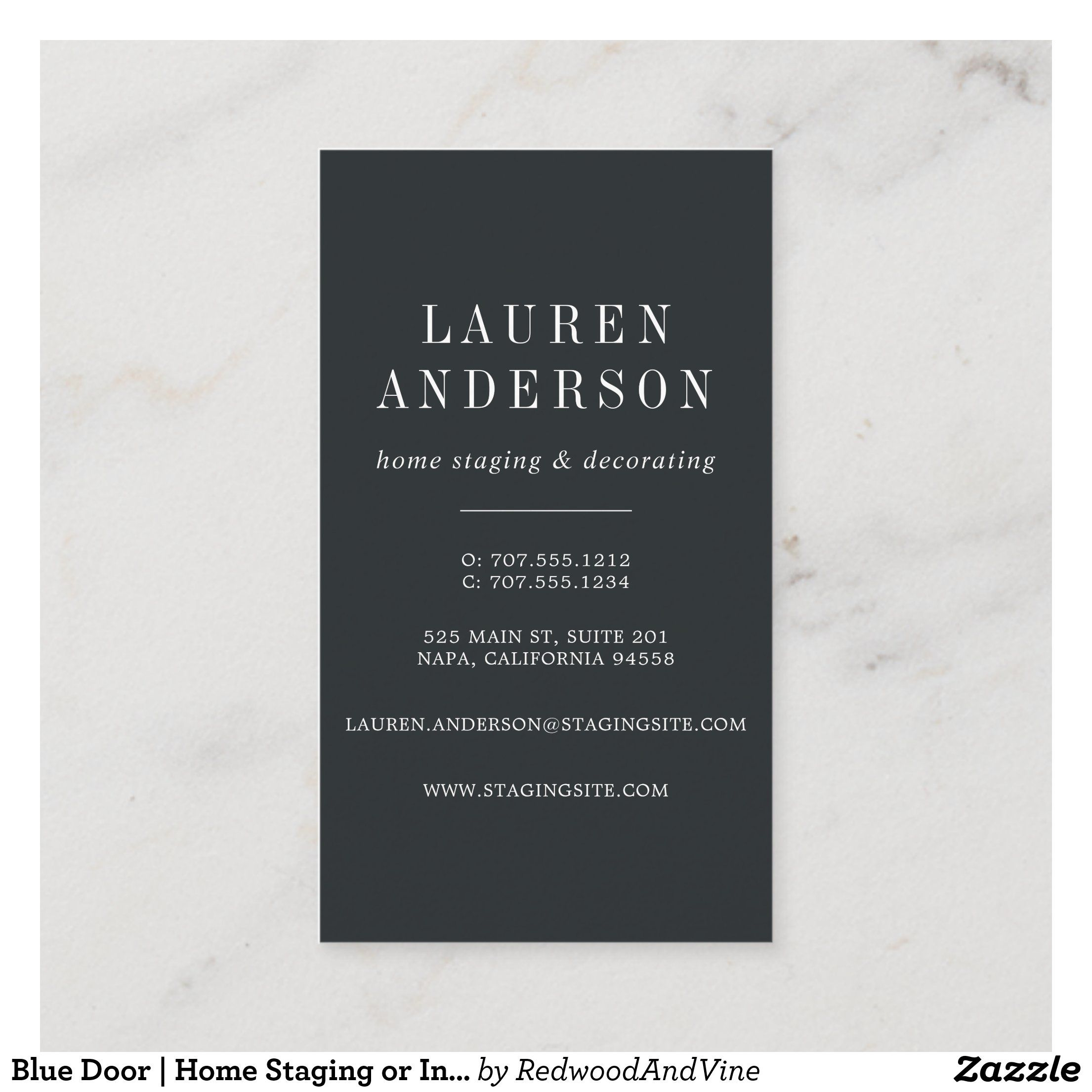 Blue Door Home Staging Or Interior Design Business Card Zazzle Com In 2020 Interior Designer Business Card Business Card Design Interior Design Business